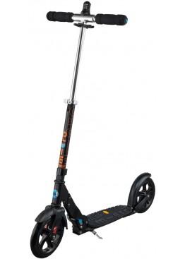 Micro Scooter Black DELUXE 200mm Vibram+ Interlock  (С ЗАМКОМ НА РУЛЕ и АМОРТИЗАТОРОМ)
