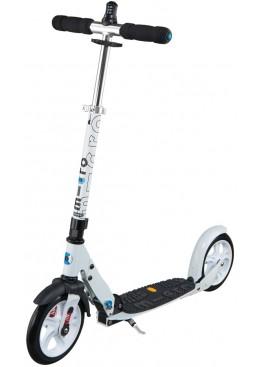 Micro White DELUXE Scooter 200mm Vibram+ Interlock (С ЗАМКОМ НА РУЛЕ и АМОРТИЗАТОРОМ)