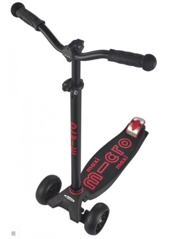 Micro Maxi Deluxe Pro Black Red (Черный-красный) Самокат